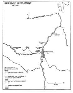 Map of Red River Settlement in 1825