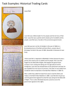 Example of trading card activity completed by a student