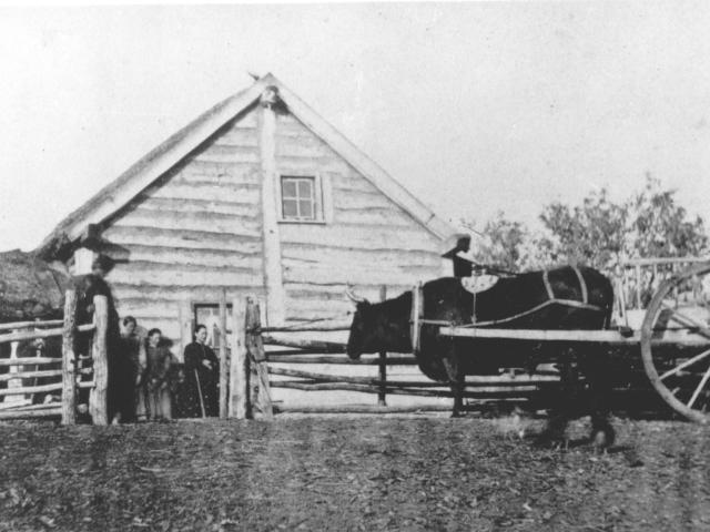 Ox Cart and Metis log home
