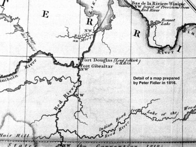 1816 Map of North West Company Forts in Red River basin