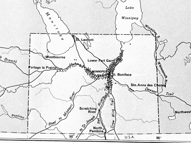 1870 Map of Warkentin's Settlement in Manitoba