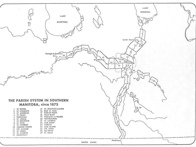 1875 Map of Parishs in Manitoba