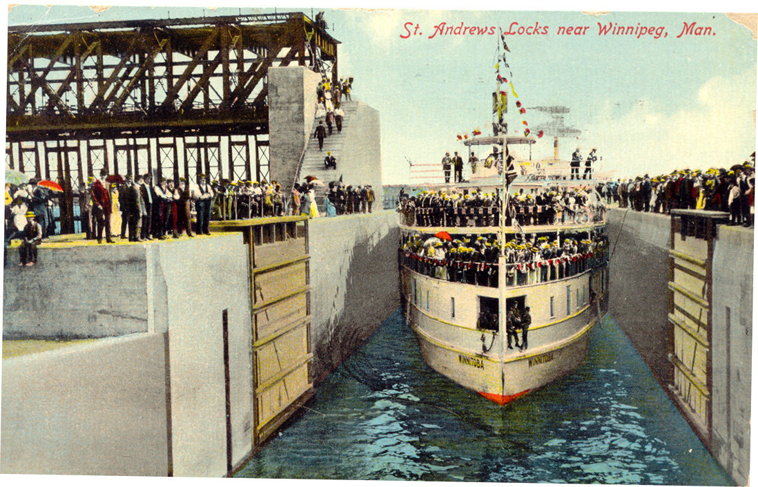 1910 First boat through locks Winnitoba