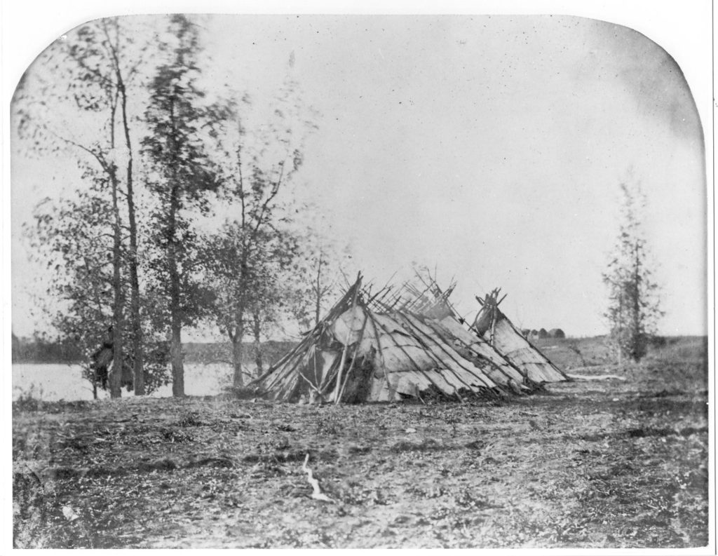 1858 Birchbark Tents, Red River, Middle Settlement.