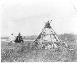 Ojibway Birch bark tents, Red River, 1858.
