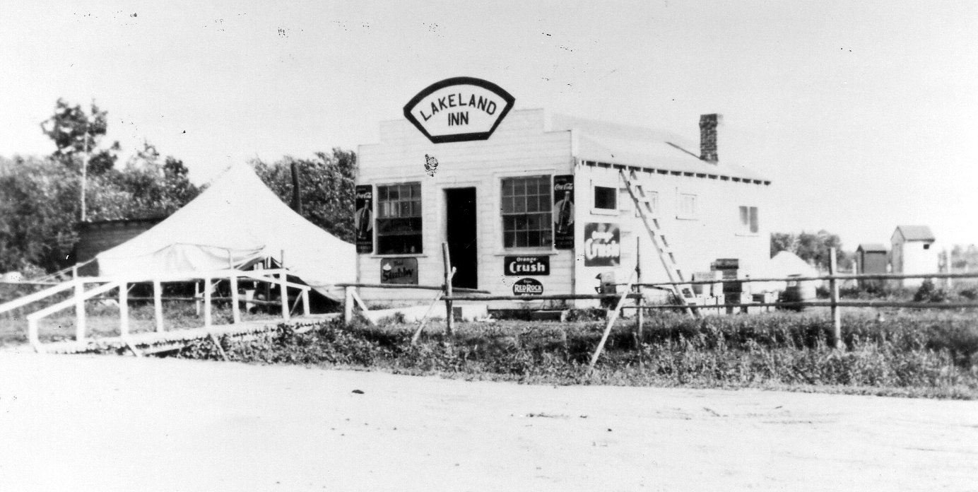 Cafe in Beaconia. Tents are for crew putting in telephone line to Grand Beach