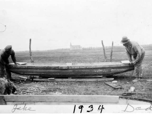 1934 Dad & Jake Donald repairing boats