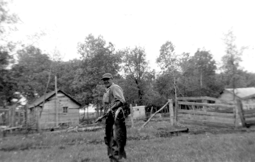 Sam Woodward with Carp caught in his pasture 1952 Poplar Park