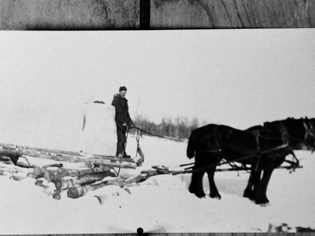 Hauling ice in winter