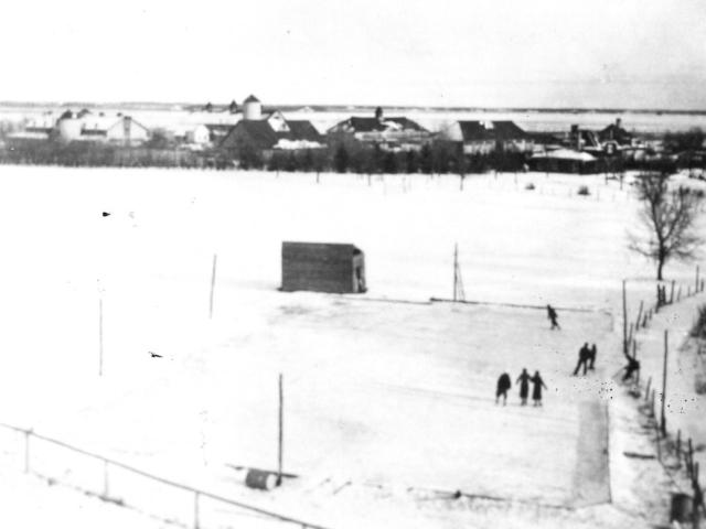 Hockey rink n East Selkirk Van Horne Farm in background, taken from CPR water Tank 1935