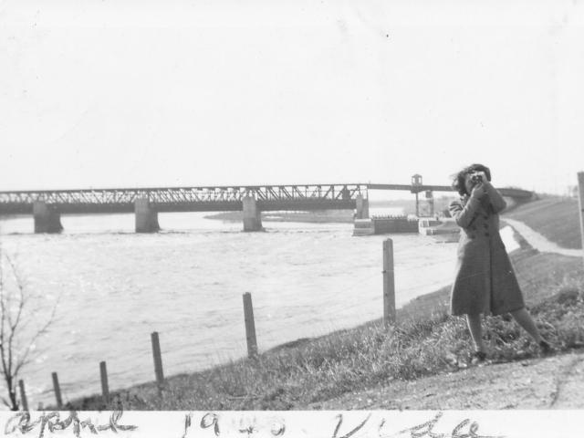 Woman and Lockport Bridge 1940