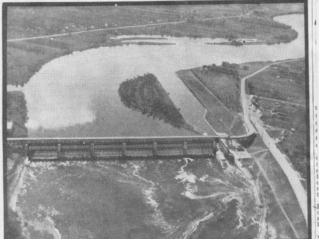 1936 Aerial view of St. Andrew's Locks, Winnipeg Free Press