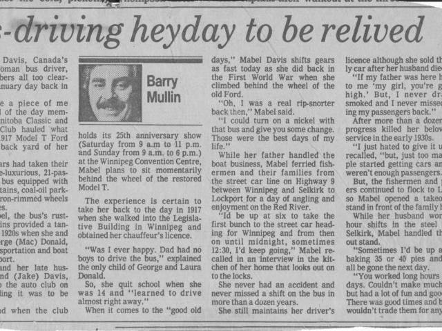 Newspaper article 1 - Mabel Davis