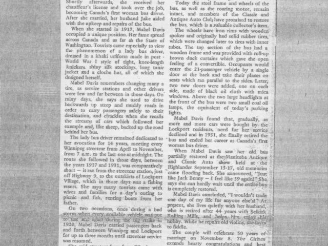 Newspaper article 3 - Mabel Davis
