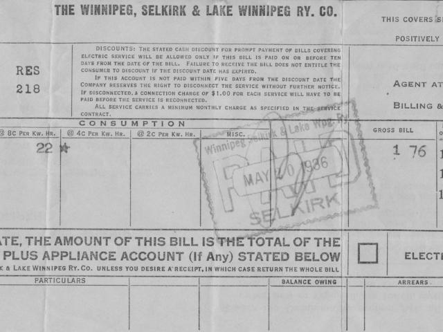 Receipt front - Winnipeg, Selkirk and Lake Winnipeg Railway Co.