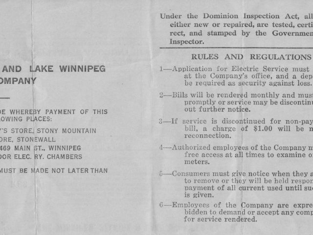 Receipt back - Winnipeg, Selkirk and Lake Winnipeg Railway Co.