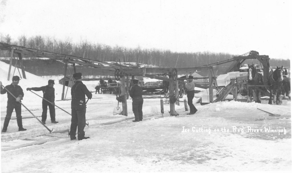 Cutting ice on Red River, c1915