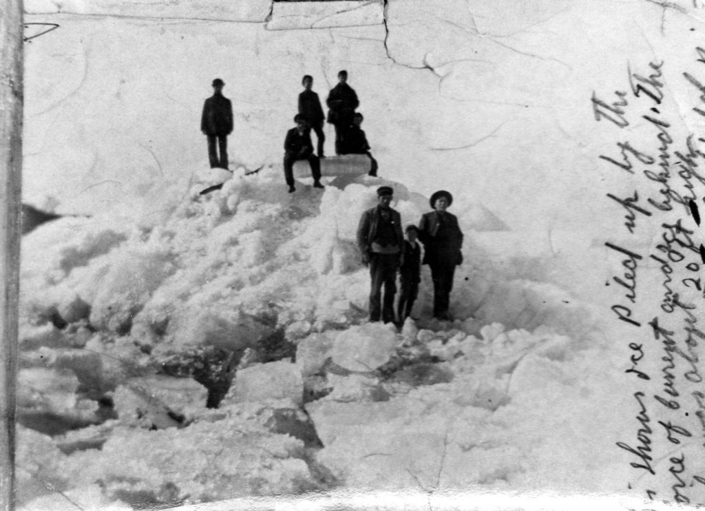 Ice piled up by the force of the current - 20 ft high East Side of the river, March 1919