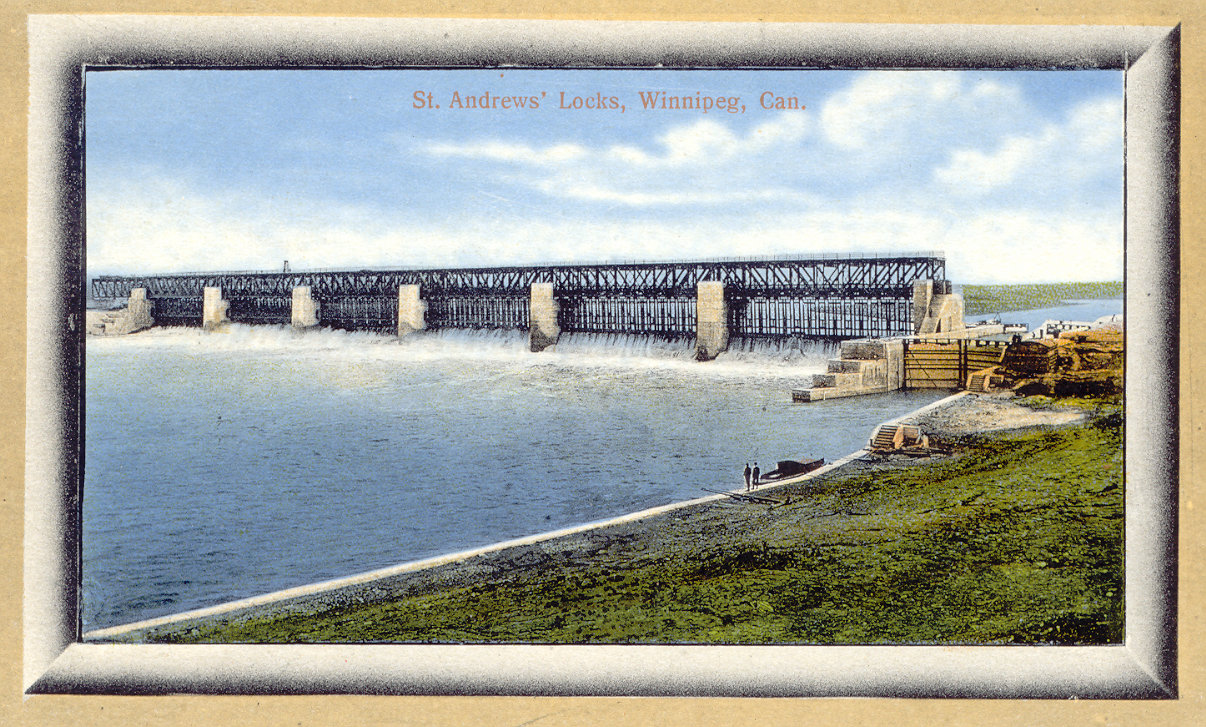 1915c Lockport dam colour postcard