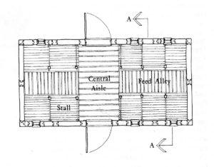 Sketch of a log barn