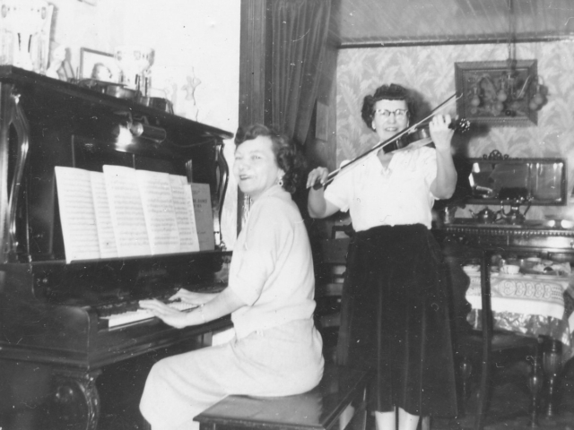 Mabel Donald on Violin and Friend