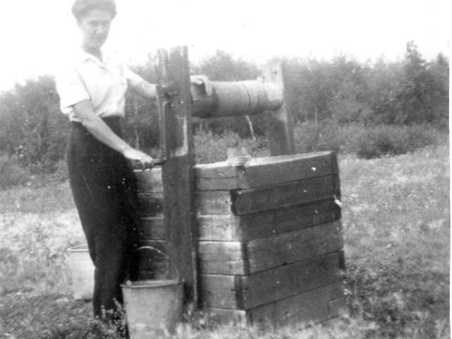 Pumping water 1941 Wachal homestead