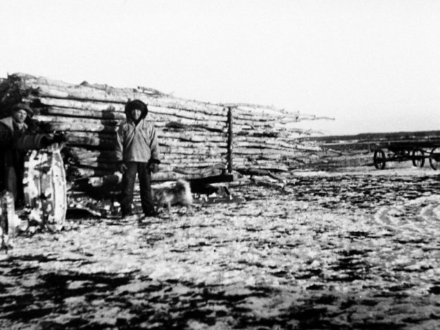 Wood - Ed & Lorne Andrews hauling wood 1939