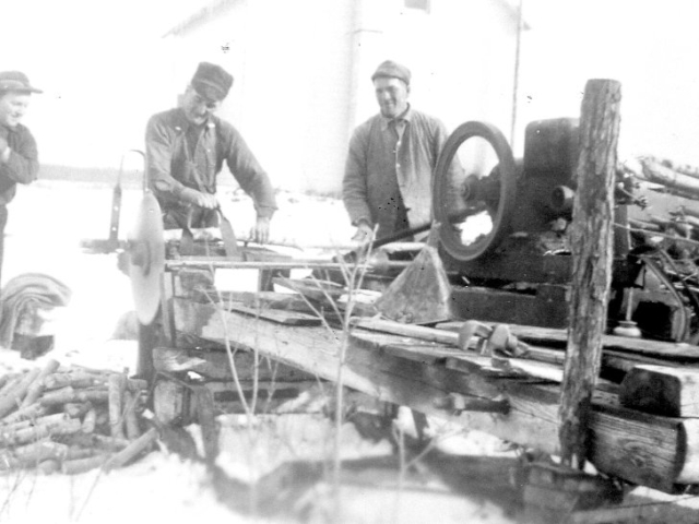 Wood - Cutting wood at the Chorneys 1941