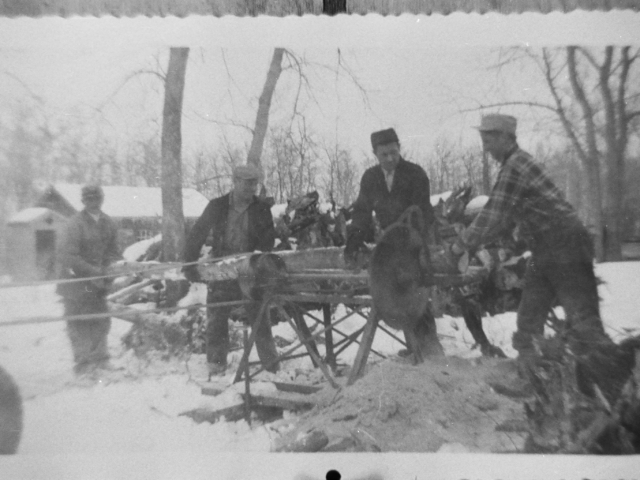 Wood - Sawing wood at the Kosack farm on St Peters Rd Lot 134-138