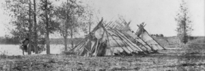 Ojibwa tents near middle Red River Settlement, 1858. Source Manitoba Archives