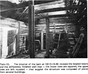 Interior of a log barn, St. Clements