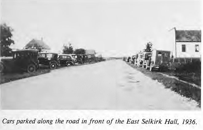 Cars in front of East Selkirk Hall 1936