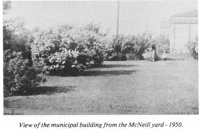 View of Municipal Building from McNeill Yard 1950