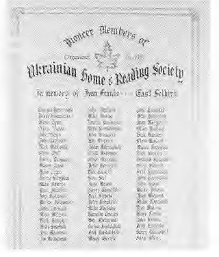 List of Pioneer Members of Ukrainian Home and Reading Society