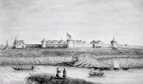 James Lockhart watercolour, HBC Upper Fort Garry, Red River Settlement, 1868 Library and Archives Canada