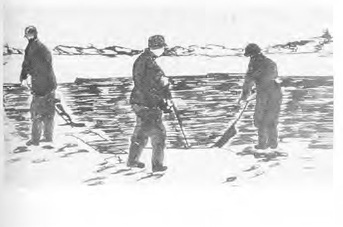 Sketch of Ice Cutters on Lake