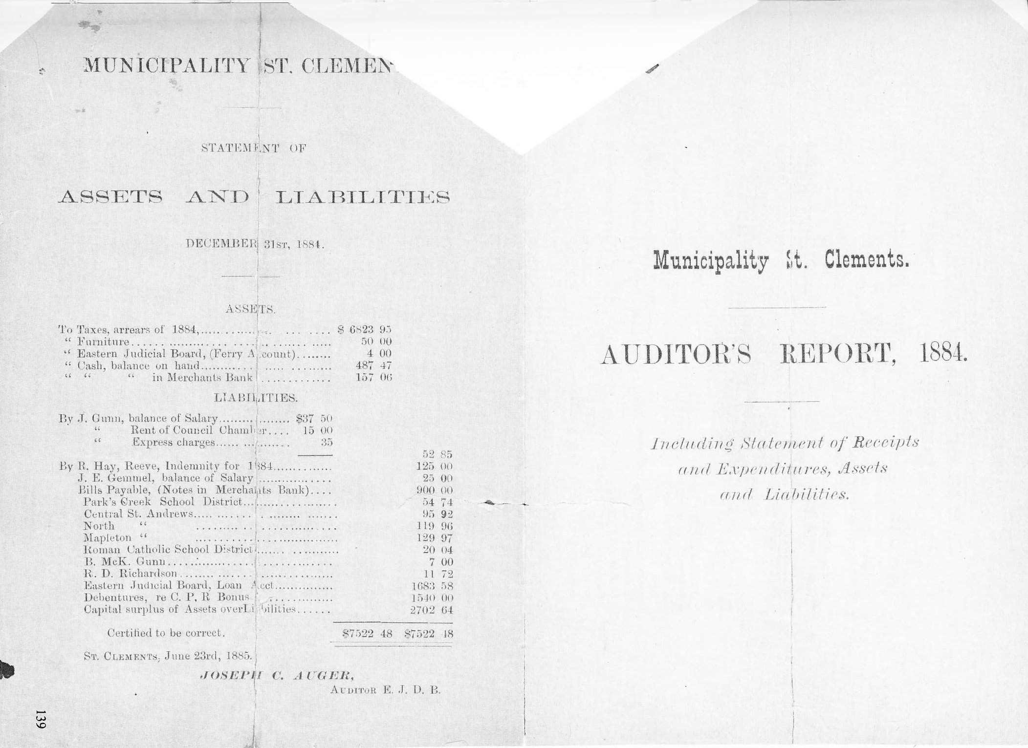 Auditors Report 1884