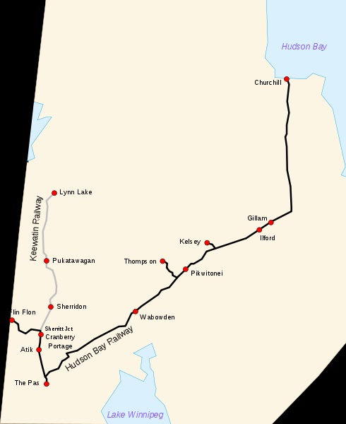 Map of Hudson Bay Rail Line