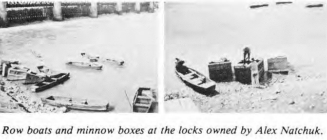 Row boats and minnow traps at the locks