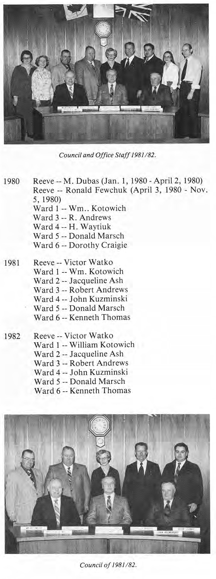 RM of St. Clement Council Members 1980-1982