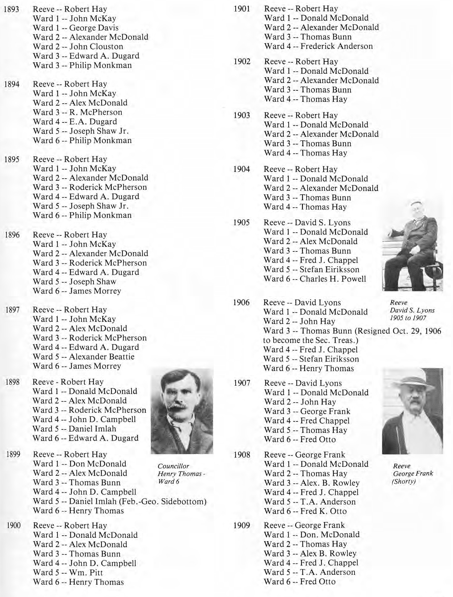 RM of St. Clement Council Members 1893-1909