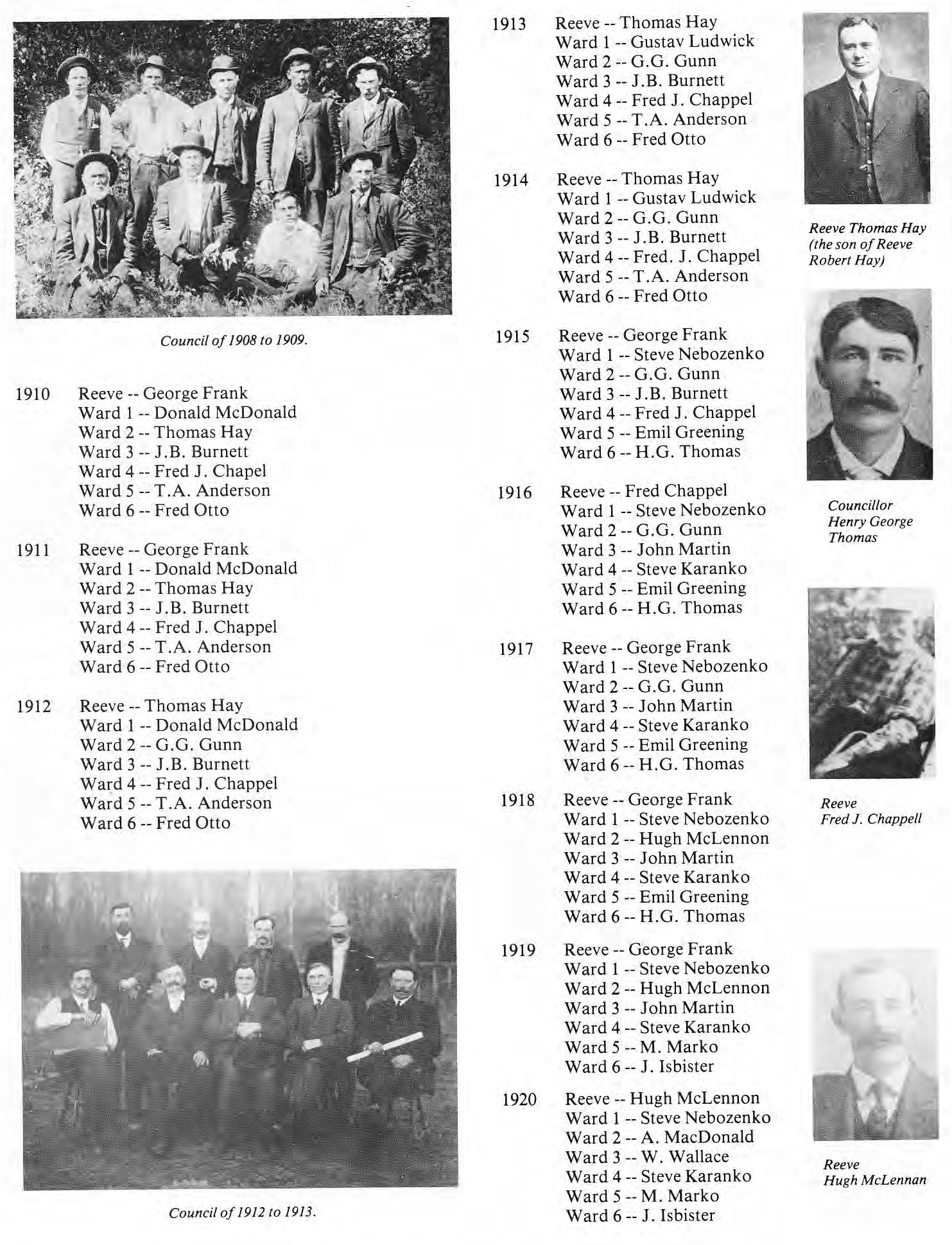 RM of St. Clement Council Members 1913-1920