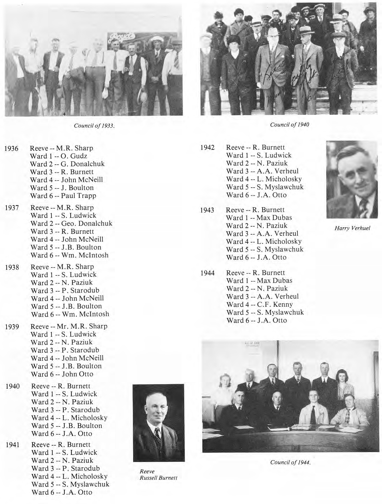RM of St. Clement Council Members 1936-1941