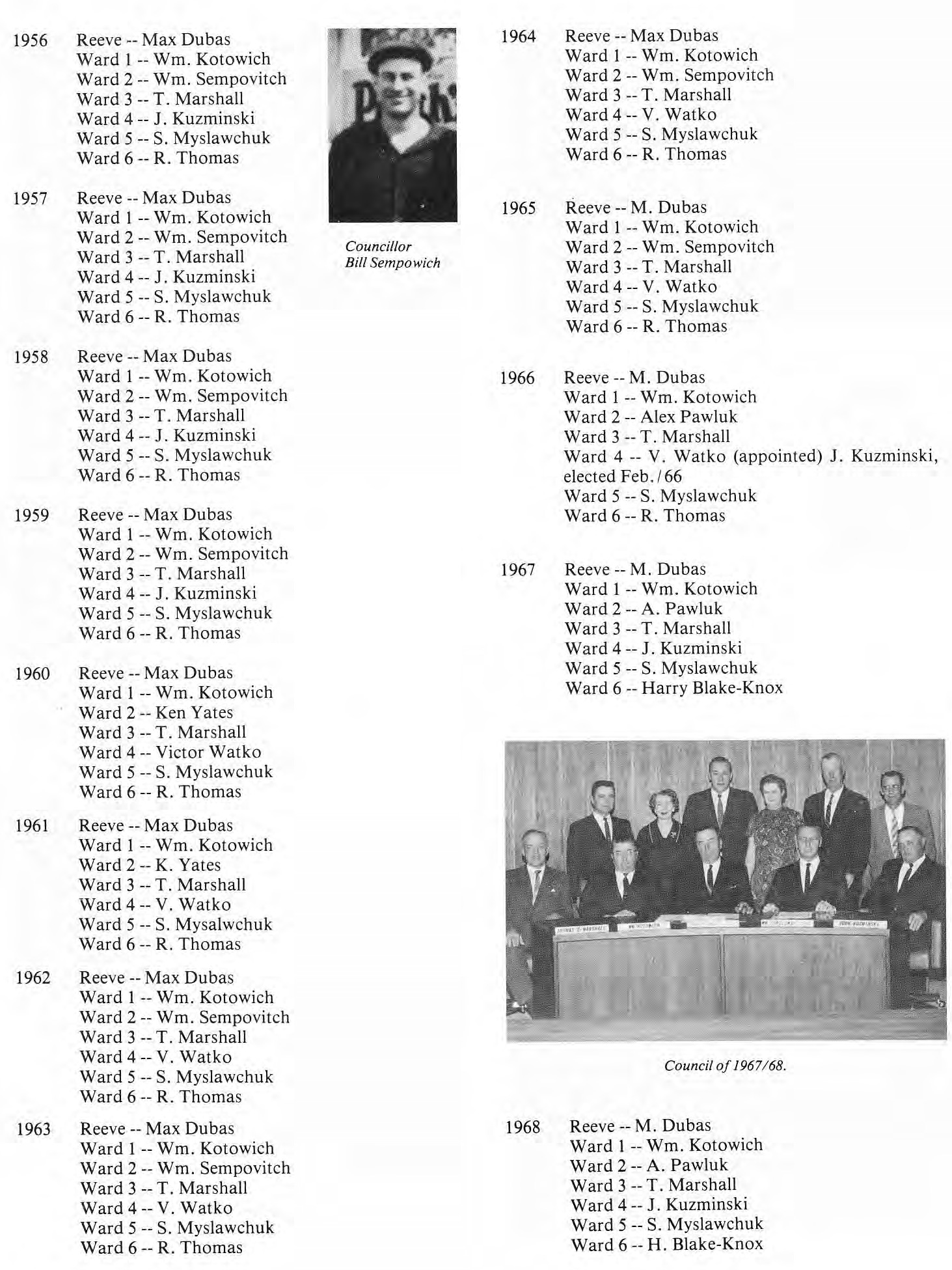 RM of St. Clement Council Members 1956-1968