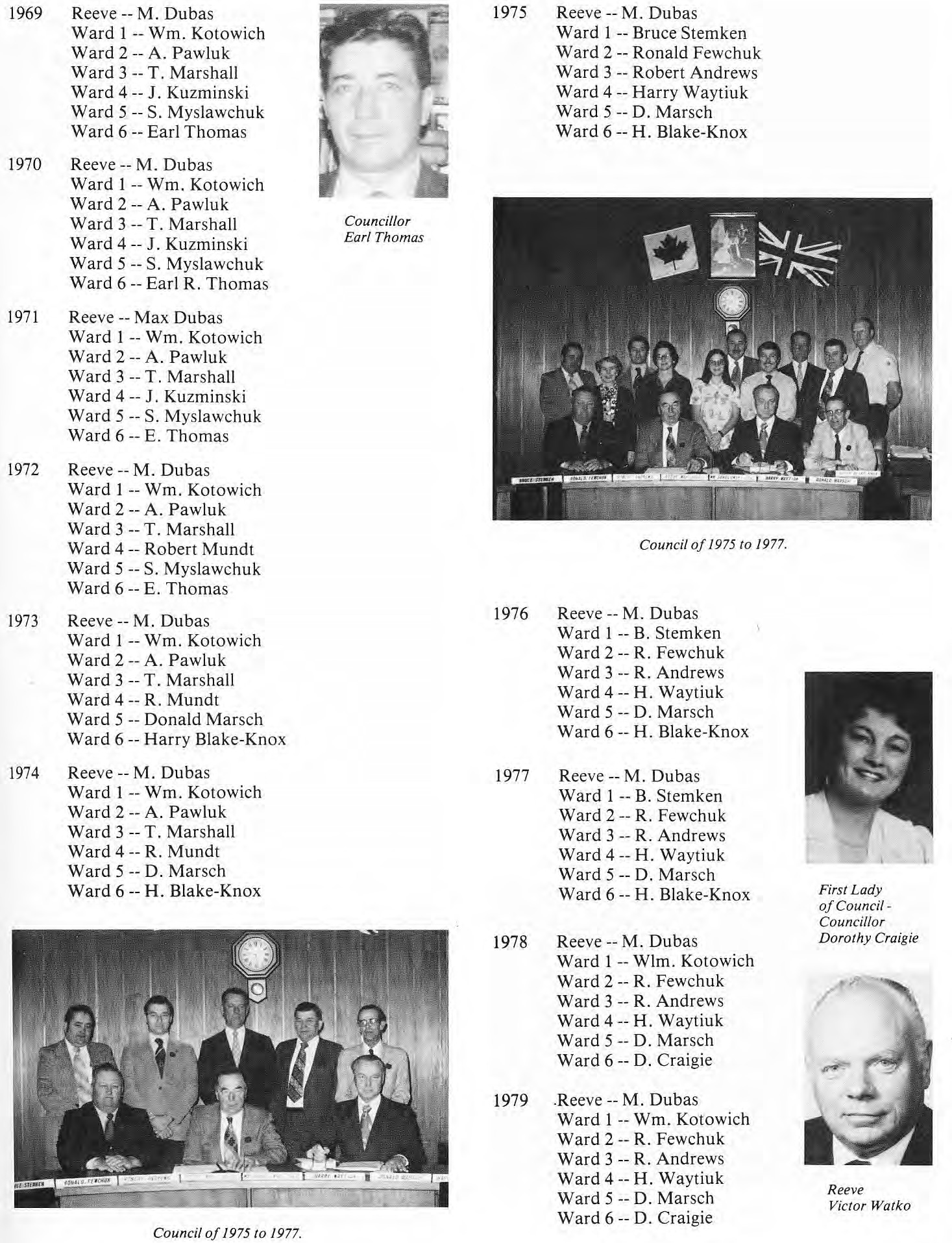 RM of St. Clement Council Members 1969-1979