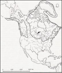 Map of glacier boundaries over North America in the Wisconsin era