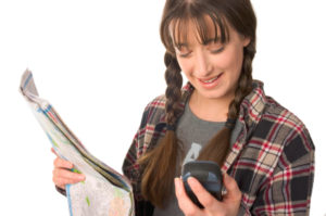 Girl Geocaching