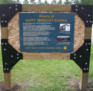 Back of Happy Thought School Sign