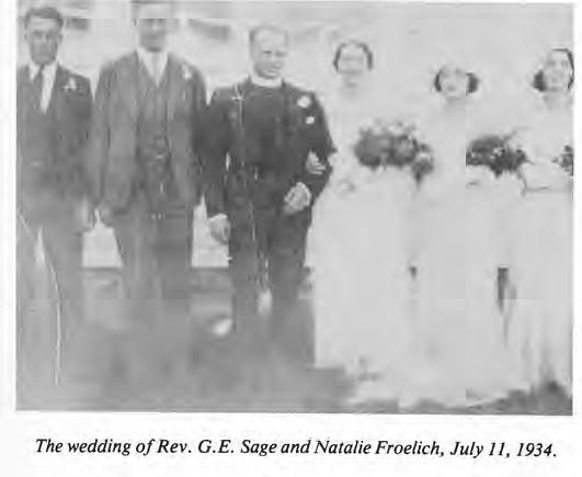 Wedding of Rev. G.E. Sage and Natalie Froelich 1934