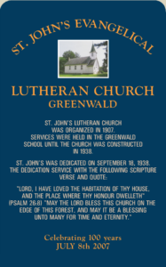 St. Johns Church Greenwald Sign
